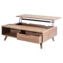 Pascal KD Lift-Top Rectangular Coffee Table, Storage and Drawer, Walnut