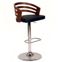 Adele Swivel Barstool In Black PU/ Walnut Veneer and Chrome Base Product Image