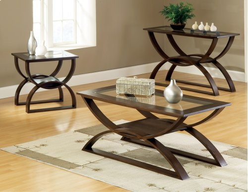 """Dylan End Table,24"""" x 22"""" x 24"""" w/ 5mm clear glass insert"""