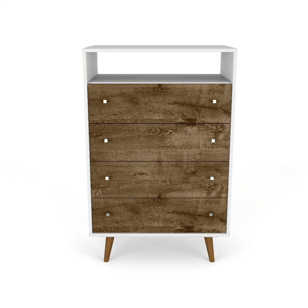 Liberty Dresser in White and Rustic Brown