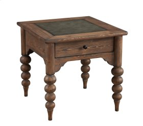End Table W/drawer-embossed Top-turned Legs