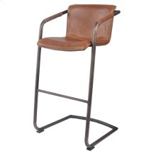 Indy PU Bar Stool Rubbed Gold Frame, Antique Cigar Brown