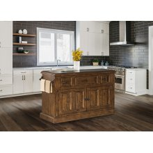 Tuscan Retreat® 3 Drawer 4 Door Large Granite Top Kitchen Island - Antique Pine