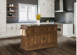Tuscan Retreat® 3 Drawer 4 Door Large Granite Top Kitchen Island - Antique Pine Product Image