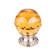 Amber Crystal Knob 1 1/8 Inch - Brushed Satin Nickel