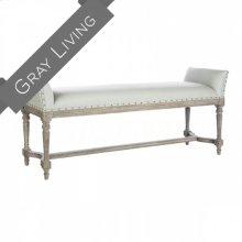 Simon Gray Leather Long Bench