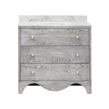 Bath Vanity With White Marble Top In Grey Cerused Oak With Antique Brass Hardware