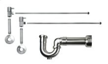 """Lavatory Supply Kit w/ Massachusetts P-Trap - Angle - Contemporary Lever Handle - 1/2"""" Female IPS Inlet x 3/8"""" O.D. Compression Outlet - Brushed Nickel"""