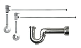 "Lavatory Supply Kit w/ Massachusetts P-Trap - Angle - Contemporary Lever Handle - 1/2"" Female IPS Inlet x 3/8"" O.D. Compression Outlet - Polished Chrome"