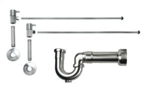"Lavatory Supply Kit w/ Massachusetts P-Trap - Angle - Contemporary Lever Handle - 1/2"" Female IPS Inlet x 3/8"" O.D. Compression Outlet - Polished Nickel"