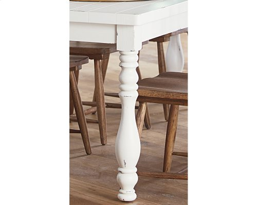 Jo's White 7 Ft. Vase Turned Dining Table