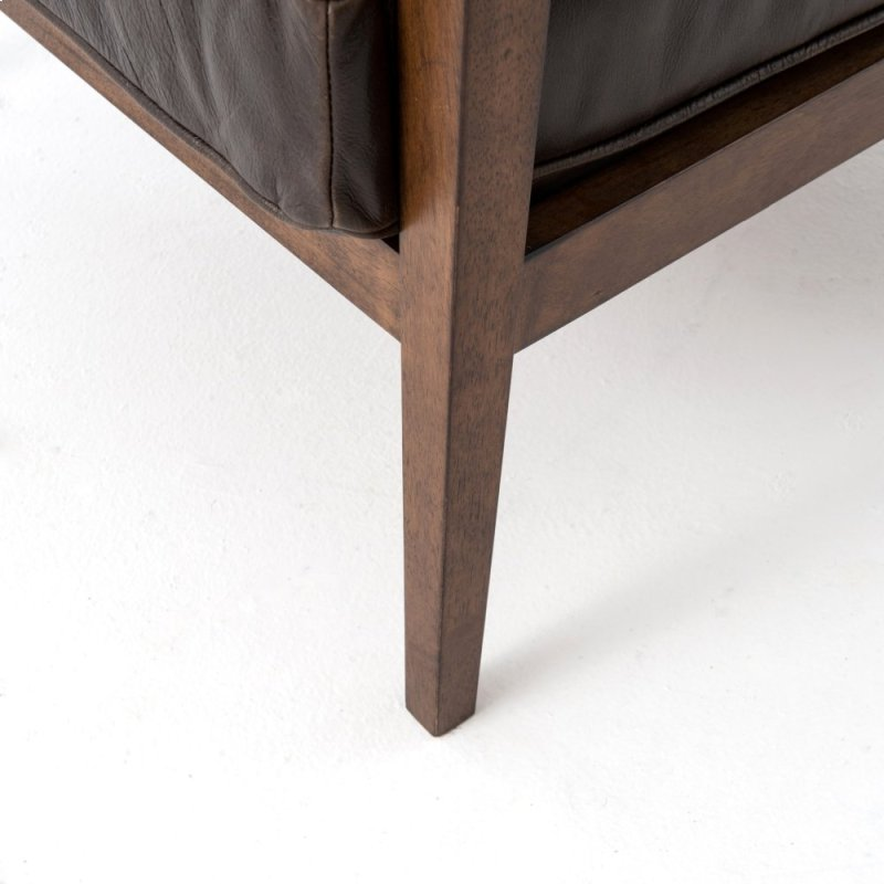 hidden additional dark brown leather cover acorn finish laurent wood frame accent chair - Wood Frame Accent Chairs