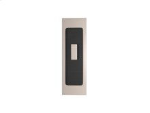 Rectangle Flush Pull - Turn Recess Leather In Black Tea And Satin Nickel