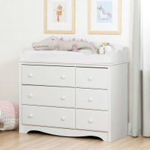 Changing Table/Dresser with 6 Drawers - Pure White