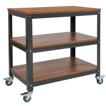 """Livingston Collection 30""""W Rolling Storage Cart with Metal Wheels in Brown Oak Wood Grain Finish"""