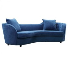 Armen Living Palisade Contemporary Sofa in Blue Velvet with Brown Wood Legs