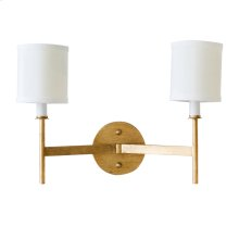 Two Arm Gold Leaf Sconce With Cream Shades.