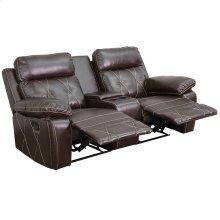 Reel Comfort Series 2-Seat Reclining Brown Leather Theater Seating Unit with Straight Cup Holders