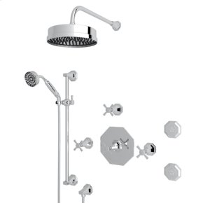 Polished Chrome Deco U.KIT58LS Thermostatic Shower Package with Cross Handle