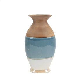 """White/blue/beige Vase 14.5"""" Wide"""