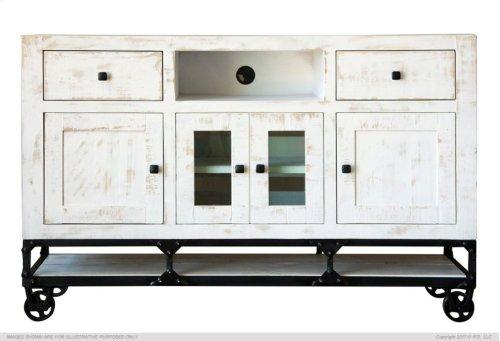 """80"""" TV Stand w/ 2 Drawer, 2 Door & 2 Glass Door"""