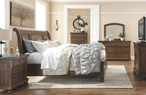 Ashley - Flynnter - Medium Brown 4 Pc. Queen Bedroom Set - Dresser, Mirror, Headboard, Footboard & Rails
