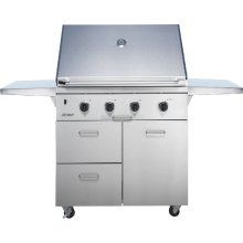"""Discovery 36"""" Outdoor Grill Cart in Stainless Steel with Chrome Trim"""