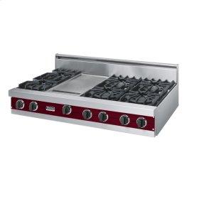 """Burgundy 48"""" Open Burner Rangetop - VGRT (48"""" wide, six burners 12"""" wide griddle/simmer plate)"""
