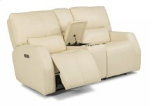 Cooper Leather Power Reclining Loveseat with Console and Power Headrests