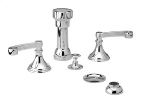 Four Hole Bidet Set Curved Handles - Satin Nickel with Satin Gold