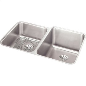 "Elkay Lustertone Classic Stainless Steel, 31-1/4"" x 20-1/2"" x 9-7/8"", Double Bowl Undermount Sink Kit w/Perfect Drain"