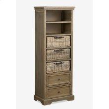 (LS) Simone Tall Bookcase (2 Drawers+3 Baskets+ 2 Shelves)-Grey (19X11X53)