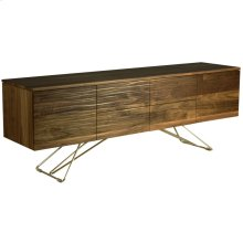 Walnut Waterfront Buffet, No Hardware 4 Drawers, 2 Doors, 1 Adjustable Shelf Behind Each Door Zen Chrome Base