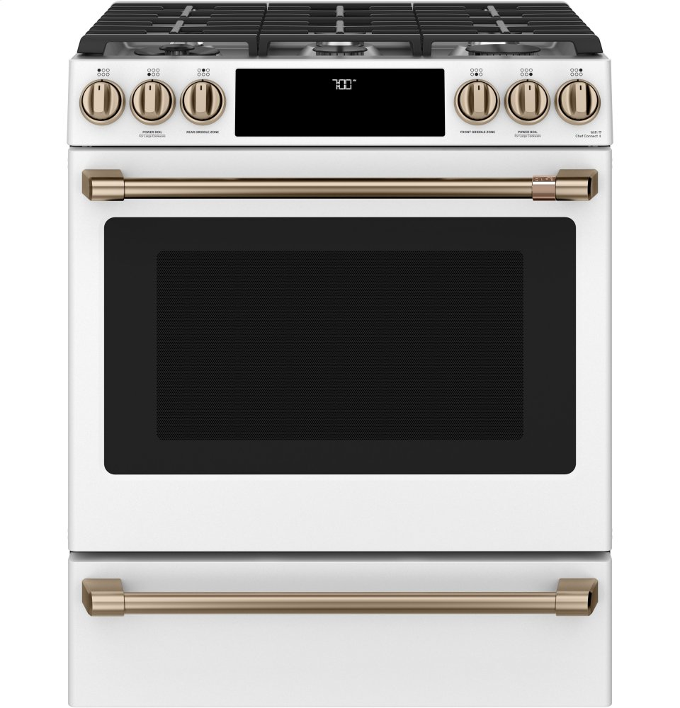 "Cafe Appliances30"" Smart Slide-In, Front-Control Gas Range With Convection Oven"