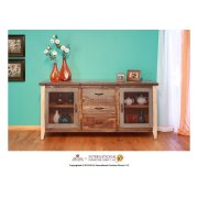 Multicolor Buffet w/2 Iron mesh door panels w/shelves, 3 drawers Product Image