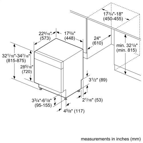 "ADA 18"" 300 Series Recessed Hndl, 4/4 Cycles, 46 dBA, RckMatic, 9 Pl Stgs - WH"
