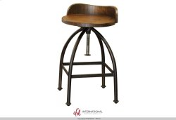 "24-30"" Adjustable Height Swivel barstool with wooden seat,Iron base Product Image"