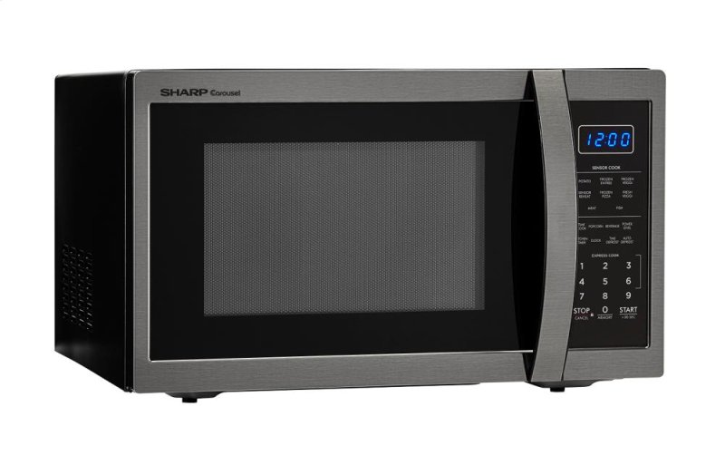Hidden Additional 1 4 Cu Ft 1100w Sharp Black Stainless Steel Countertop Microwave Smc1452ch