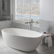 Free-standing soaking bathtub made of white solid surface with an overflow and a decorative solid surface drain; net weight 298 lbs, water capacity 73 gal.