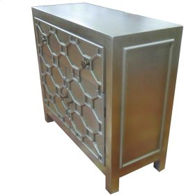 Silvestro Distressed Small Cabinet 1 Drawer + 2 Doors, Antique Champagne
