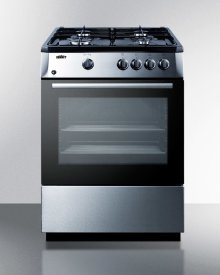 """24"""" Wide 'slide-in' Look Gas Range With Sealed Burners, Waist-high Broiler, Stainless Steel Finishing, Storage Compartment, and Black Cabinet and Surface"""