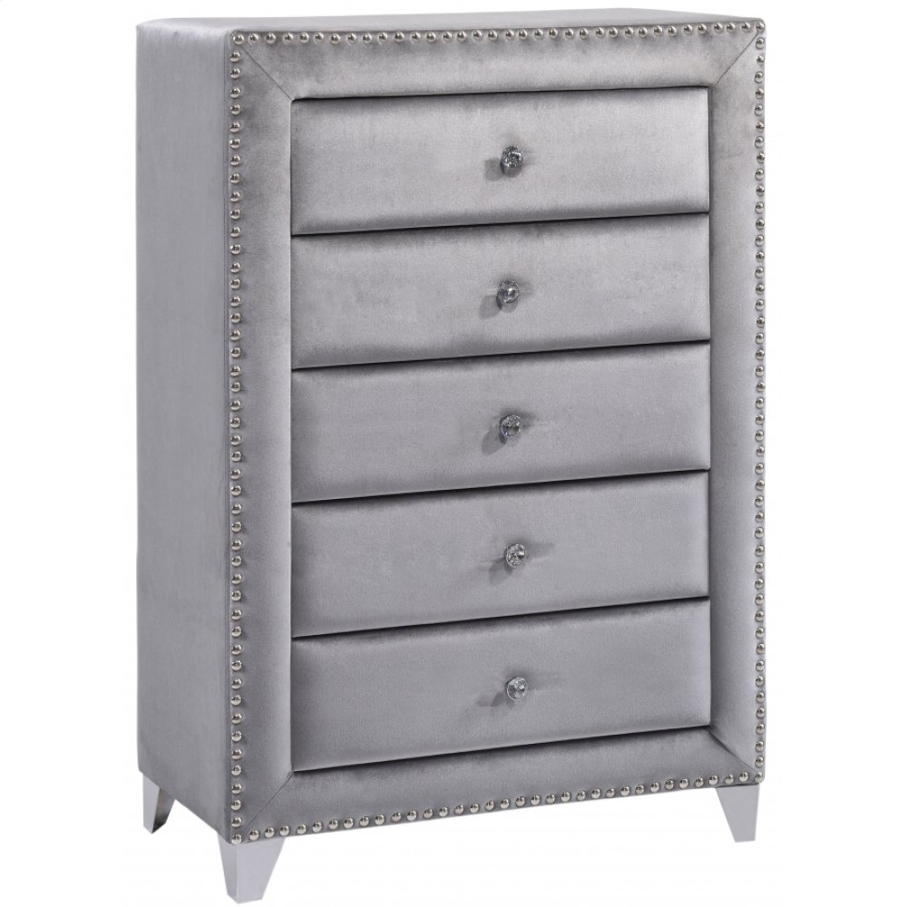"Sophie Grey Velvet Chest - 40"" W x 18"" D x 50"" H"
