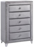 "Sophie Grey Velvet Chest - 40"" W x 18"" D x 50"" H Product Image"