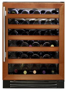 24 Inch Overlay Glass Door Wine Cabinet - Left Hinge Overlay Glass
