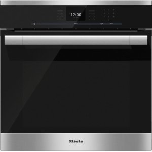 MIELEH 6560 B AM 24 Inch Convection Oven with AirClean catalyzer and Roast probe for precise cooking.