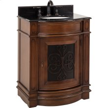 "29"" vanity with two-toned Toffee finish, carved scroll detail, and bow front shape with preassembled top and bowl."