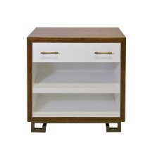 One Drawer Hardwood Veneer Nighstand With Interior Shelf. Interior and Drawer White Lacquer. Antique Brass Hardware and Greek Key Base. Drawer On Soft Close Glide.