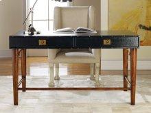 Leather Wrapped Desk, Ebony Leather. Brass Details.