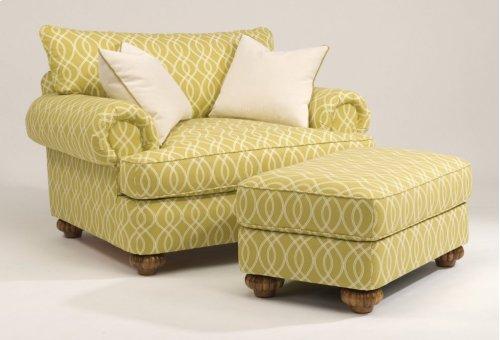 Patterson Fabric Ottoman without Nailhead Trim