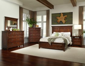 Queen Panel Bed with Six Drawer Storage